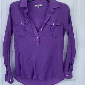 Madewell Purple Coral Henley Button  Collar Top